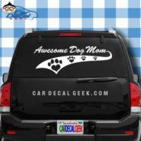 Awesome Dog Mom Athletic Car Window Decal Sticker