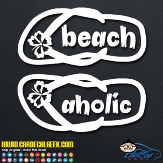 Beach Aholic Flip Flops Decal Sticker