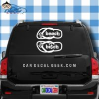 Beach Bitch Flip Flops Car Window Decal Sticker
