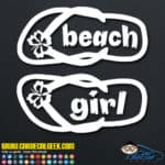 Beach Girl Flip Flops Decal Sticker