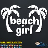 Beach Girl Palm Trees Decal Sticker