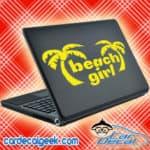 Beach Girl Palm Trees Laptop MacBook Decal Sticker