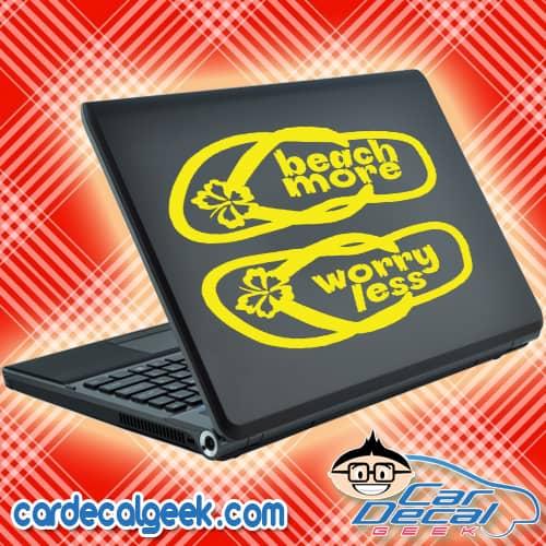 Beach More Worry Less Flip Flops Laptop MacBook Decal Sticker