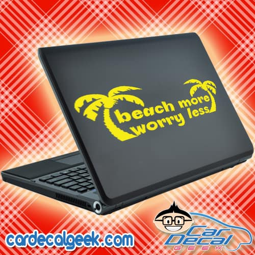 Beach More Worry Less Laptop MacBook Decal Sticker