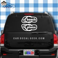 Beach Please Flip Flops Car Window Decal Sticker