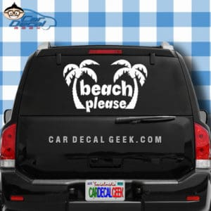 Beach Please Palm Trees Car Window Decal Sticker