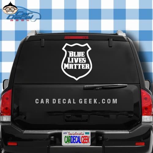 Blue Lives Matter Police Badge Car Window Decal Sticker