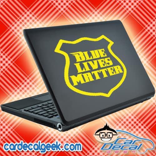 Blue Lives Matter Police Badge Laptop MacBook Decal Sticker