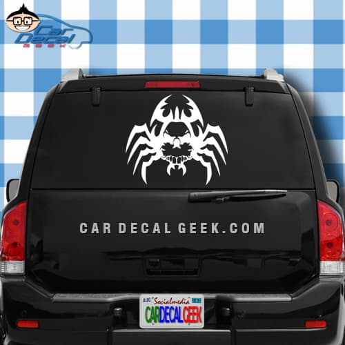 Creepy Spider Skull Car Window Decal Sticker