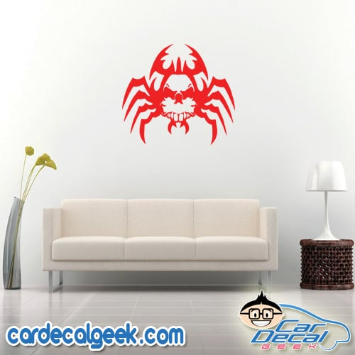 Creepy Spider Skull Wall Decal Sticker