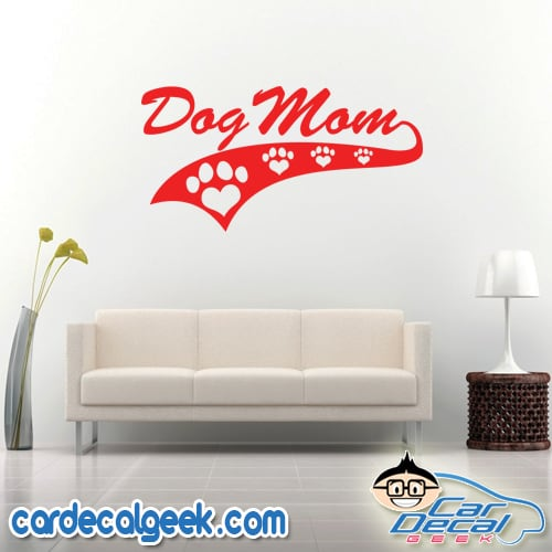 Dog Mom Athletic Wall Decal Sticker
