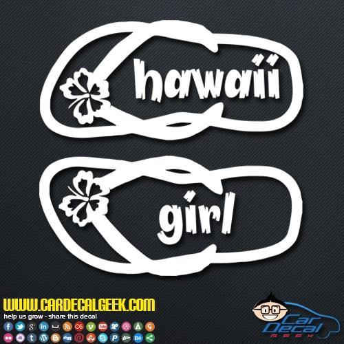 Hawaii Girl Flip Flops Decal Sticker