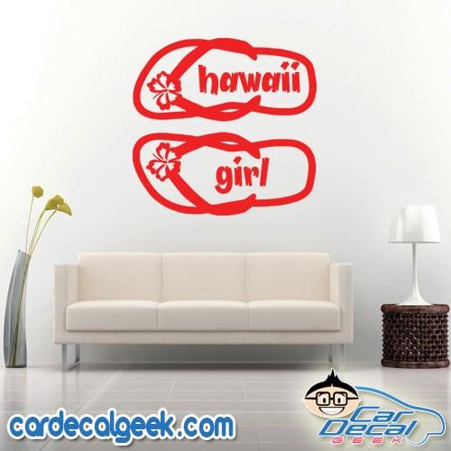Hawaii Girl Flip Flops Wall Decal Sticker