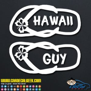 Hawaii Guy Flip Flops Decal Sticker