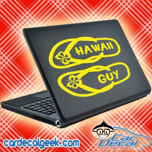 Hawaii Guy Flip Flops Laptop MacBook Decal Sticker