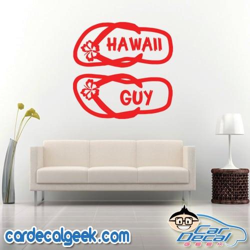 Hawaii Guy Flip Flops Wall Decal Sticker
