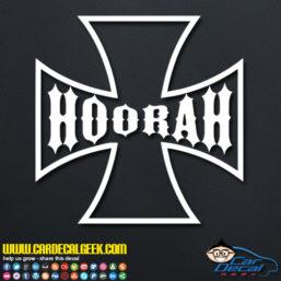 Hoorah Army Iron Cross Car Window Decal Sticker