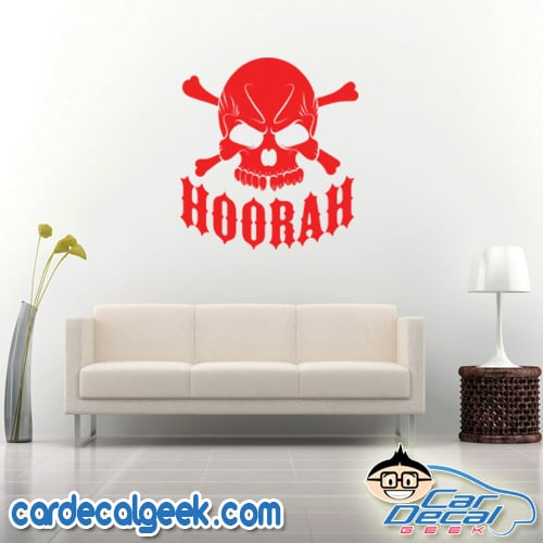 Hoorah Army Skull Wall Decal Sticker