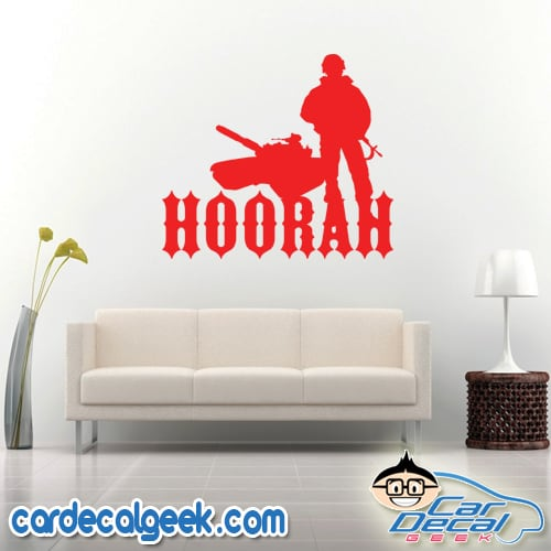 Hoorah Army Soldier Tank Wall Decal Sticker