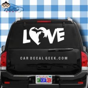 Michigan Heart Love Car Window Decal Sticker