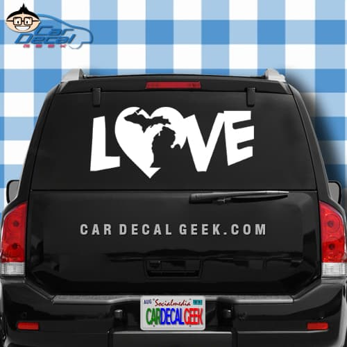 Michigan Heart Love Car Window Decal Sticker