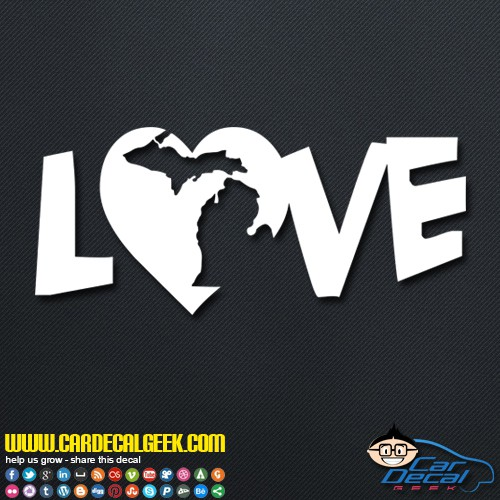 Michigan Heart Love Decal Sticker
