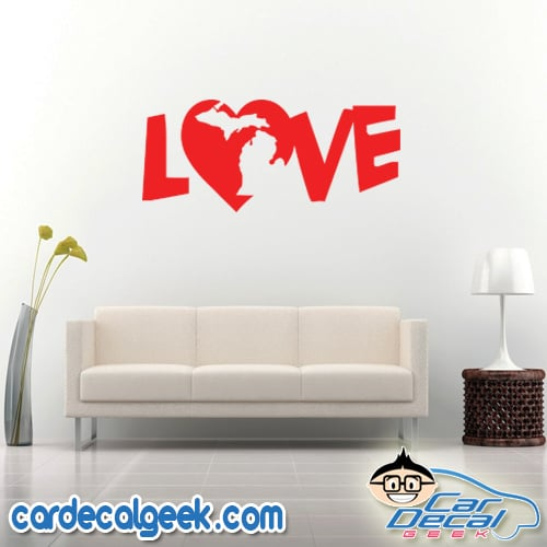Michigan Heart Love Wall Decal Sticker