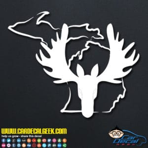 Michigan Moose Head Decal Sticker