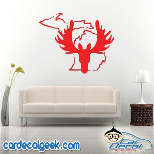 Michigan Moose Head Wall Decal Sticker