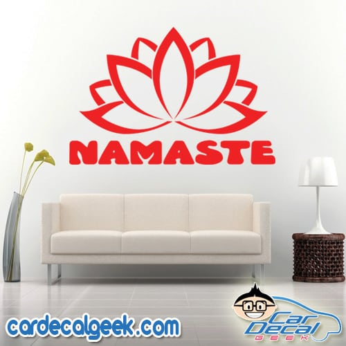 Namaste Lotus Flower Wall Decal Sticker