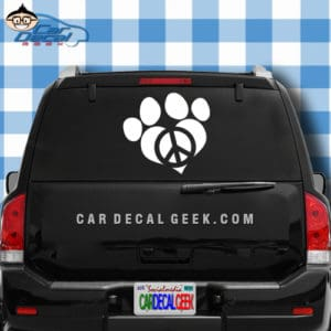 Peace Love Dog Paw Car Window Decal Sticker