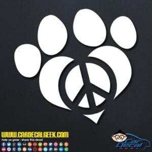 Peace Love Dog Paw Decal Sticker