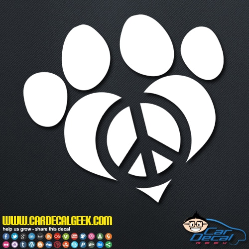Peace love dog paw decal sticker