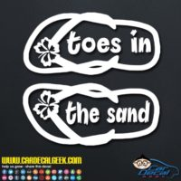 Toes In The Sand Flip Flops Decal Sticker