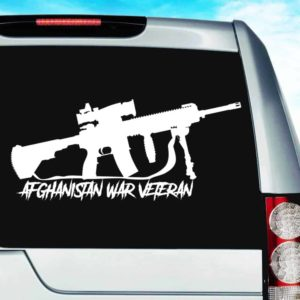 Afghanistan War Veteran Machine Gun Decal Car Window Sticker