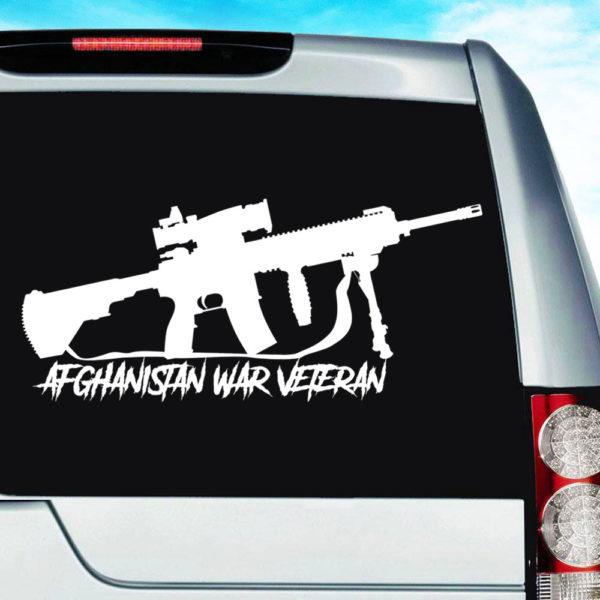 Afghanistan War Veteran Machine Gun Decal Car Window Sticker