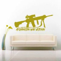 Afghanistan War Veteran Machine Gun Wall Decal Sticker