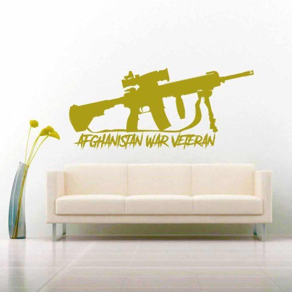 Afghanistan War Veteran Machine Gun Wall Decal Sticker