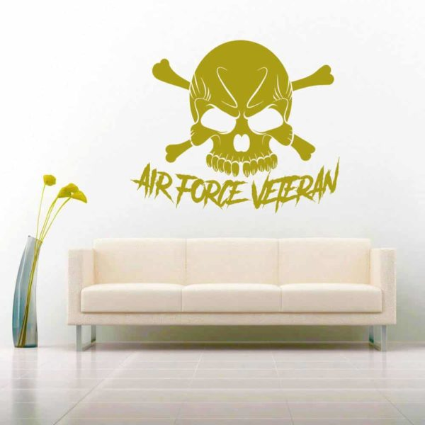 Air Force Veteran Skull Vinyl Wall Decal Sticker