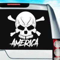 America Skull Vinyl Car Window Decal Sticker