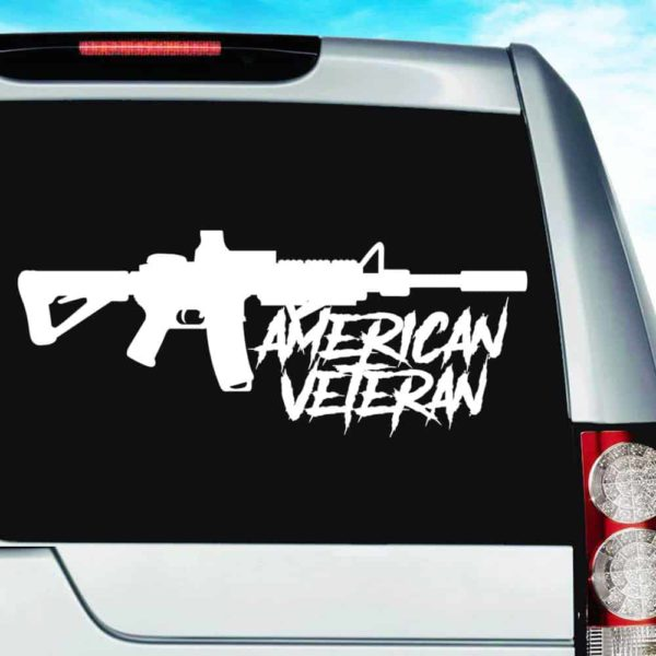 American Veteran Machine Gun Vinyl Car Window Decal Sticker
