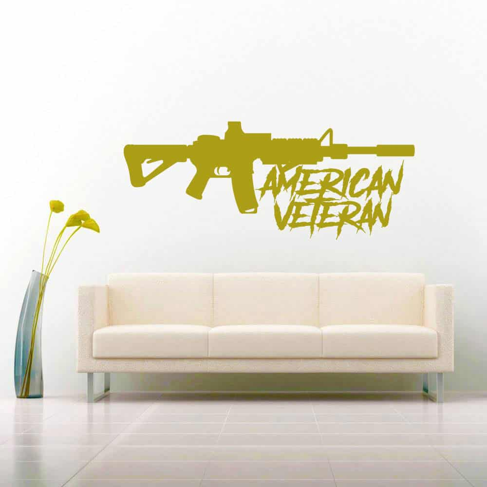 American Veteran Machine Gun Vinyl Car Truck Window Decal