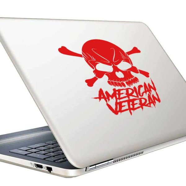 American Veteran Skull Vinyl Laptop Macbook Decal Sticker