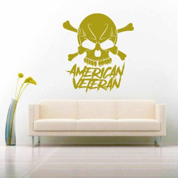American Veteran Skull Vinyl Wall Decal Sticker