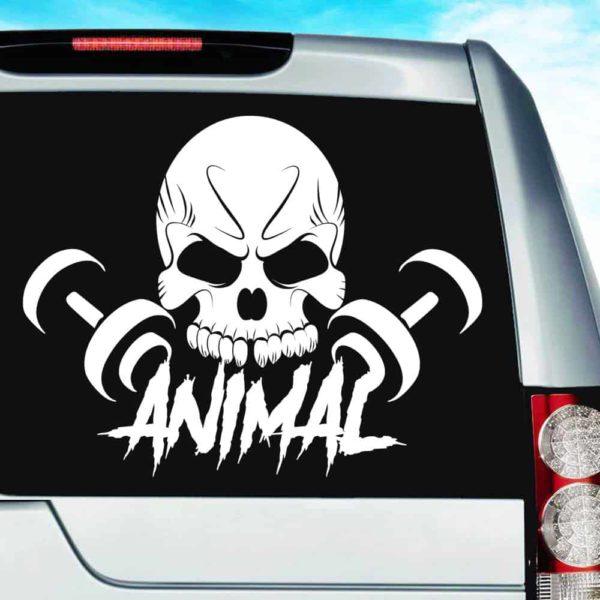 Animal Skull Dumbbells Vinyl Car Window Decal Sticker