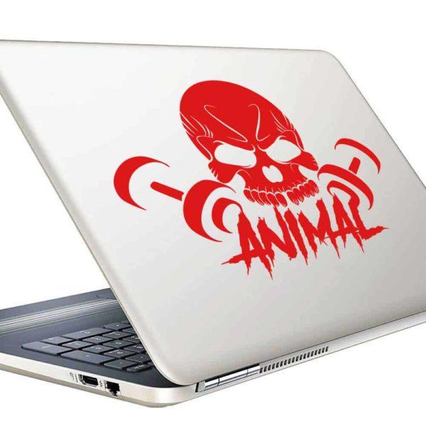 Animal Skull Dumbbells Vinyl Laptop Macbook Decal Sticker