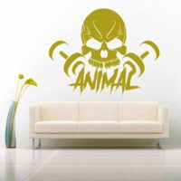 Animal Skull Dumbbells Vinyl Wall Decal Sticker