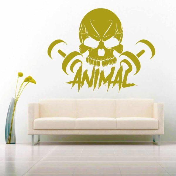 Animal Skull Dumbbells Vinyl Wall Decal Sticker