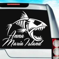 Anna Maria Island Fish Skeleton Vinyl Car Window Decal Sticker