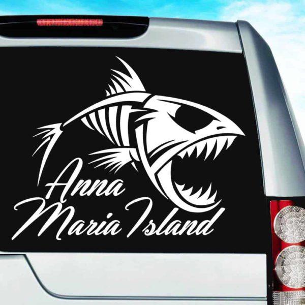 Anna Maria Island Fish Skeleton Vinyl Car Window Decal Sticker